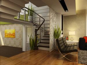 Vách ngăn cầu trang trí thang và phòng khách gỗ tại Đà Nẵng